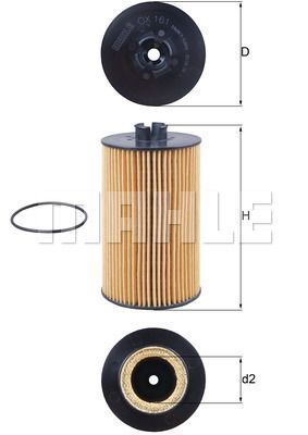MAHLE ORIGINAL Oliefilter OX 161D