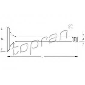 TOPRAN Auslaßventil 100 975 für AUDI 80 Avant (8C, B4) 2.0 E 16V ab Baujahr 02.1993, 140 PS