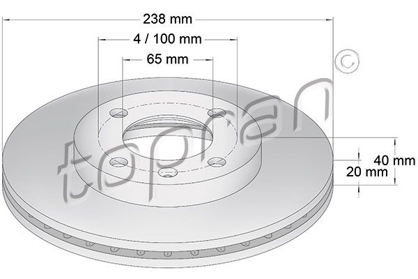 TOPRAN  103 407 Bremsscheibe Bremsscheibendicke: 20mm, Felge: 4-loch, Ø: 238mm