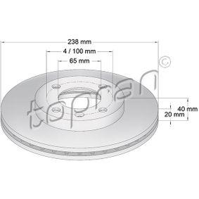 Bremsscheibe Bremsscheibendicke: 20mm, Felge: 4-loch, Ø: 238mm mit OEM-Nummer 321 615 301C