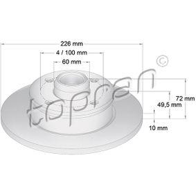Bremsscheibe Bremsscheibendicke: 10mm, Felge: 4-loch, Ø: 226mm mit OEM-Nummer 6N0615601