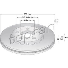 Bremsscheibe Bremsscheibendicke: 22mm, Felge: 5-loch, Ø: 256mm mit OEM-Nummer 6R0 615 301C