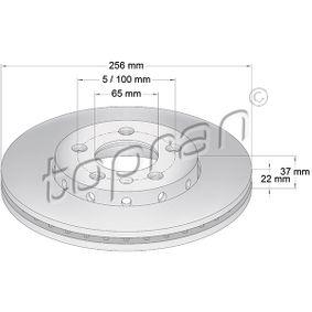 TOPRAN COATED 107 680 Bremsscheibe Bremsscheibendicke: 22mm, Felge: 5-loch, Ø: 256mm