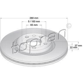 Bremsscheibe Bremsscheibendicke: 22mm, Felge: 5-loch, Ø: 280mm mit OEM-Nummer JZW615301