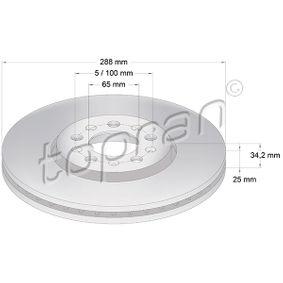 Bremsscheibe Bremsscheibendicke: 25mm, Felge: 5-loch, Ø: 288mm mit OEM-Nummer 1J0 615 301 S