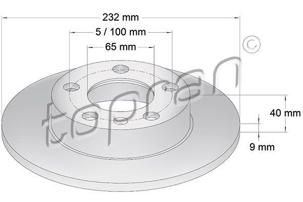 TOPRAN COATED 107 683 Bremsscheibe Bremsscheibendicke: 9mm, Felge: 5-loch, Ø: 232mm