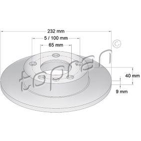 Bremsscheibe Bremsscheibendicke: 9mm, Felge: 5-loch, Ø: 232mm mit OEM-Nummer 1J0 615 601 N