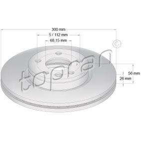 Bremsscheibe Bremsscheibendicke: 26mm, Felge: 5-loch, Ø: 300mm mit OEM-Nummer 1 141 782