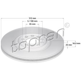 TOPRAN COATED 109 524 Bremsscheibe Bremsscheibendicke: 25mm, Felge: 5-loch, Ø: 312mm