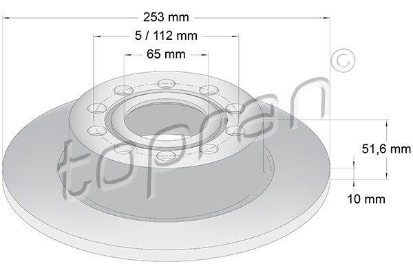 TOPRAN  110 079 Bremsscheibe Bremsscheibendicke: 10mm, Felge: 5-loch, Ø: 255mm