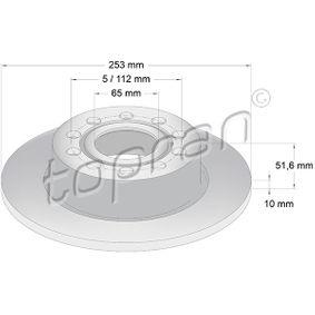 Bremsscheibe Bremsscheibendicke: 10mm, Felge: 5-loch, Ø: 255mm mit OEM-Nummer 1K0 615 601AB