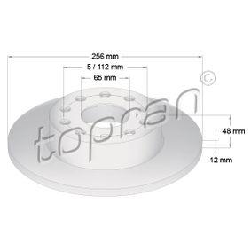 Bremsscheibe Bremsscheibendicke: 12mm, Felge: 5-loch, Ø: 256mm mit OEM-Nummer 1K0 615 601 L