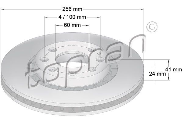 TOPRAN  200 932 Bremsscheibe Bremsscheibendicke: 24mm, Felge: 4-loch, Ø: 256mm