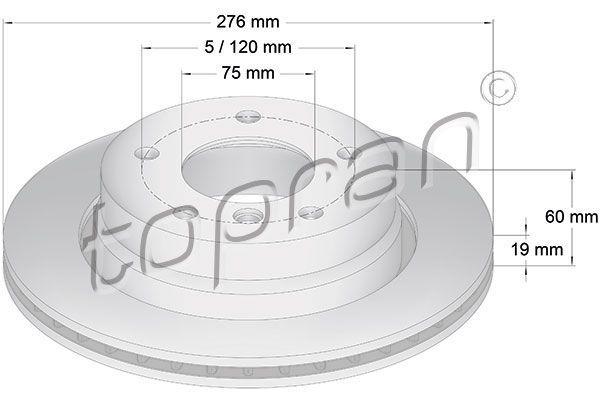 TOPRAN  500 577 Bremsscheibe Bremsscheibendicke: 19mm, Felge: 5-loch, Ø: 276mm