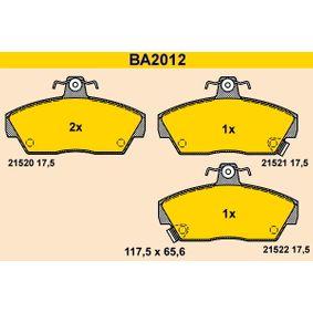 Bremsbelagsatz, Scheibenbremse Breite: 117,5mm, Höhe: 65,6mm, Dicke/Stärke: 17,5mm mit OEM-Nummer GBP 90314