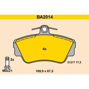 Brake Pad Set, disc brake Width: 109,9mm, Height: 67,5mm, Thickness: 17,5mm with OEM Number 3344 787