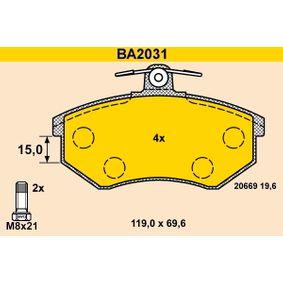 BARUM Bremsbelagsatz, Scheibenbremse BA2031 für AUDI 90 (89, 89Q, 8A, B3) 2.2 E quattro ab Baujahr 04.1987, 136 PS