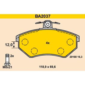 Bremsbelagsatz, Scheibenbremse Breite: 118,9mm, Höhe: 69,6mm, Dicke/Stärke: 16,3mm mit OEM-Nummer 357 698 151D