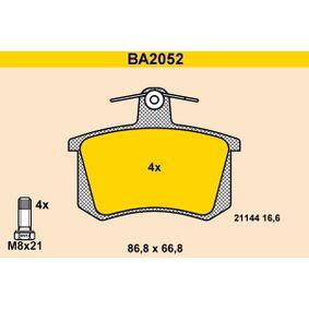 BARUM Bremsbelagsatz, Scheibenbremse BA2052 für AUDI 80 (8C, B4) 2.8 quattro ab Baujahr 09.1991, 174 PS