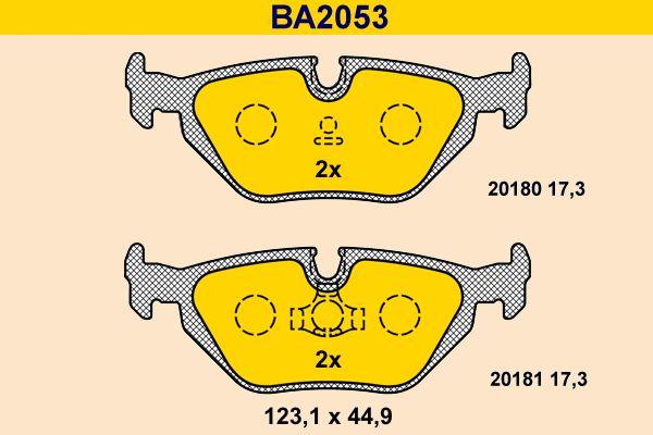 Barum  BA2053 Bremsbelagsatz, Scheibenbremse Breite: 123,1mm, Höhe: 44,9mm, Dicke/Stärke: 17,3mm