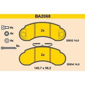 Bremsbelagsatz, Scheibenbremse Art. Nr. BA2068 120,00€