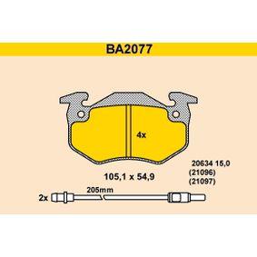 1999 Twingo c06 1.2 Brake Pad Set, disc brake BA2077