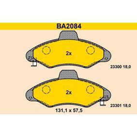 BARUM Bremsbelagsatz, Scheibenbremse BA2084 für FORD ESCORT VI Stufenheck (GAL) 1.4 ab Baujahr 08.1993, 75 PS