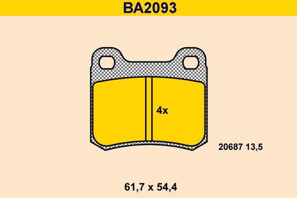 Barum  BA2093 Bremsbelagsatz, Scheibenbremse Breite: 61,7mm, Höhe: 54,4mm, Dicke/Stärke: 13,5mm