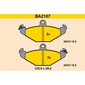 Bremsbelagsatz, Scheibenbremse Breite: 125,9mm, Höhe: 58,4mm, Dicke/Stärke: 15,0mm mit OEM-Nummer 7701203124