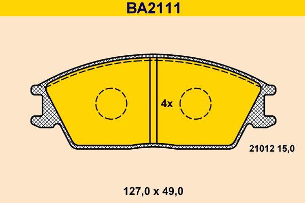 Barum  BA2111 Bremsbelagsatz, Scheibenbremse Breite: 127,0mm, Höhe: 49,0mm, Dicke/Stärke: 15,0mm