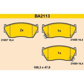 Barum  BA2113 Bremsbelagsatz, Scheibenbremse Breite: 108,3mm, Höhe: 47,9mm, Dicke/Stärke: 16,4mm