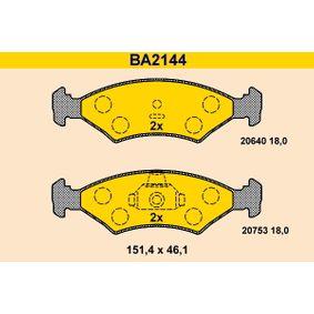 Bremsbelagsatz, Scheibenbremse Breite: 151,4mm, Höhe: 46,1mm, Dicke/Stärke: 18,0mm mit OEM-Nummer 1010 503
