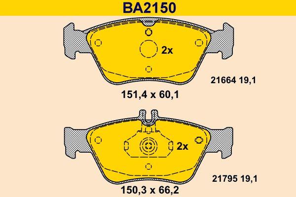 Barum  BA2150 Bremsbelagsatz, Scheibenbremse Breite 1: 151,4mm, Breite 2: 150,3mm, Höhe 1: 60,1mm, Höhe 2: 66,2mm, Dicke/Stärke: 19,1mm