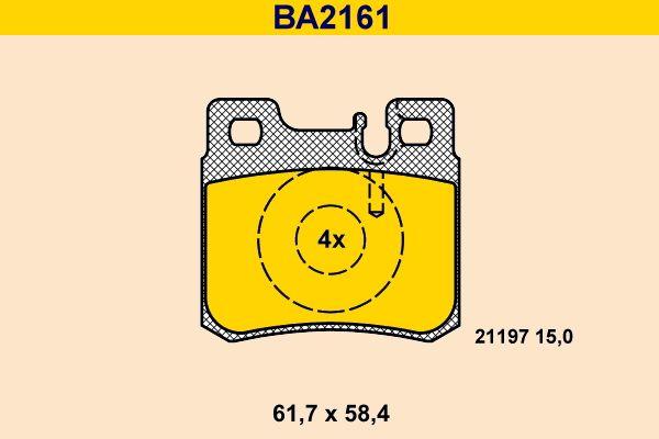 Barum  BA2161 Bremsbelagsatz, Scheibenbremse Breite: 61,7mm, Höhe: 58,4mm, Dicke/Stärke: 15,0mm