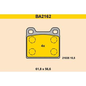 BARUM Bremsbelagsatz, Scheibenbremse BA2162 für MERCEDES-BENZ S-CLASS (W116) 280 SE,SEL (116.024) ab Baujahr 08.1972, 185 PS