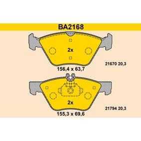 Bremsbelagsatz, Scheibenbremse Breite 1: 155,3mm, Breite 2: 156,4mm, Höhe 1: 69,6mm, Höhe 2: 63,7mm, Dicke/Stärke: 20,3mm mit OEM-Nummer 004 420 0320