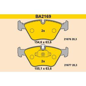 Bremsbelagsatz, Scheibenbremse Breite 1: 155,1mm, Breite 2: 154,6mm, Höhe 2: 63,6mm, Dicke/Stärke: 20,3mm mit OEM-Nummer 3411 1163 953