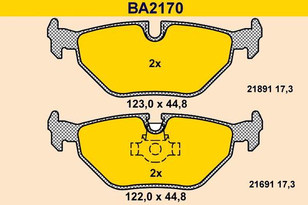 Barum  BA2170 Bremsbelagsatz, Scheibenbremse Breite 1: 123,0mm, Breite 2: 122,0mm, Höhe 1: 44,8mm, Höhe 2: 44,8mm, Dicke/Stärke: 17,3mm