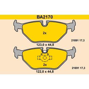 Bremsbelagsatz, Scheibenbremse Breite 1: 123,0mm, Breite 2: 122,0mm, Höhe 2: 44,8mm, Dicke/Stärke: 17,3mm mit OEM-Nummer 34212157591