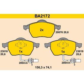 BARUM Bremsbelagsatz, Scheibenbremse BA2172 für AUDI A4 Avant (8E5, B6) 3.0 quattro ab Baujahr 09.2001, 220 PS