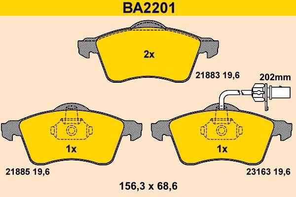 Barum  BA2201 Bremsbelagsatz, Scheibenbremse Breite: 156,3mm, Höhe: 68,6mm, Dicke/Stärke: 19,6mm