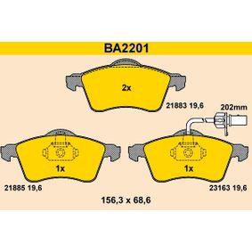 Bremsbelagsatz, Scheibenbremse Breite: 156,3mm, Höhe: 68,6mm, Dicke/Stärke: 19,6mm mit OEM-Nummer 7D0698151F