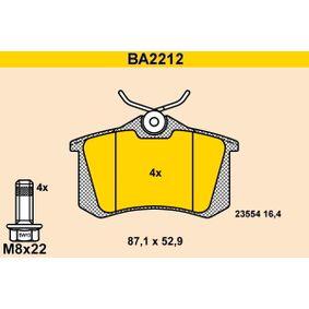 Relais RENAULT ESPACE III (JE0_) 2.2 dCi (JE0K) de Année 10.2000 130 CH: Jeu de plaquettes de frein, frein à disque (BA2212) pour des BARUM
