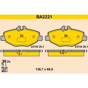Fékbetét készlet, tárcsafék BA2221 E-osztály Sedan (W211) E 220 CDI 2.2 (211.006) Év 2007
