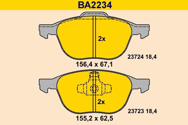 Barum  BA2234 Bremsbelagsatz, Scheibenbremse Breite 1: 155,2mm, Breite 2: 156,4mm, Höhe 1: 62,5mm, Höhe 2: 67,1mm, Dicke/Stärke: 18,4mm