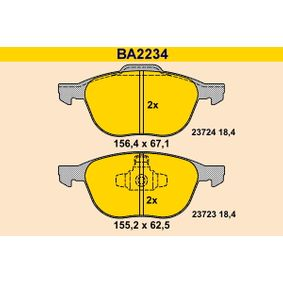 Bremsbelagsatz, Scheibenbremse Breite 1: 155,2mm, Breite 2: 156,4mm, Höhe 1: 62,5mm, Höhe 2: 67,1mm, Dicke/Stärke: 18,4mm mit OEM-Nummer 2188058