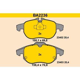 Bremsbelagsatz, Scheibenbremse Breite 1: 155,1mm, Breite 2: 156,4mm, Höhe 1: 69,8mm, Höhe 2: 70,8mm, Dicke/Stärke: 20,4mm mit OEM-Nummer 93185751