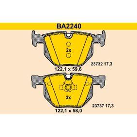 BARUM Bremsbelagsatz, Scheibenbremse BA2240 für BMW 5 (E60) 530 xi ab Baujahr 01.2007, 272 PS