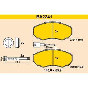 Barum  BA2241 Bremsbelagsatz, Scheibenbremse Breite: 140,6mm, Höhe: 65,9mm, Dicke/Stärke: 19,0mm
