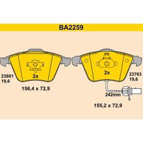 BARUM Bremsbelagsatz, Scheibenbremse BA2259 für AUDI A4 Avant (8E5, B6) 3.0 quattro ab Baujahr 09.2001, 220 PS